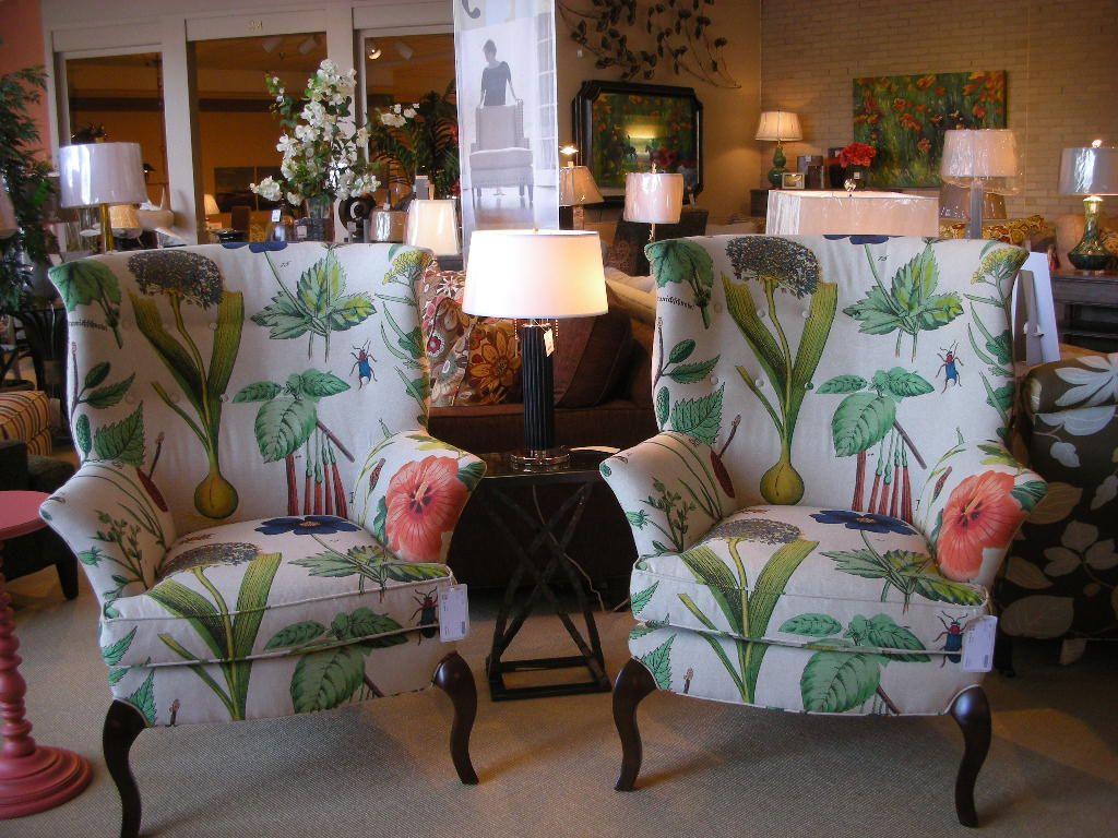 Pair Of CR Laine Furnitureu0027s Dautry Chairs In Fabric Botanique Spring On  The Floor At Sedlak Interiors In Cleveland, OH