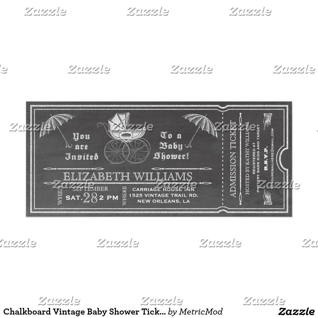 Chalkboard Vintage Baby Shower Ticket Invitation | Halloween Cards ...