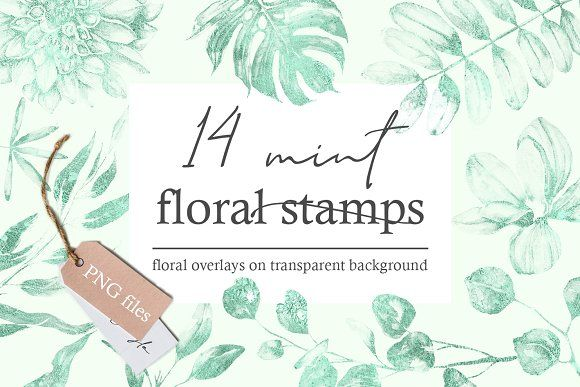Click to download 14 Mint floral stamps by PixelJungle