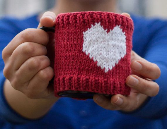 Knitted mug cosy with heart by Anudable on Etsy