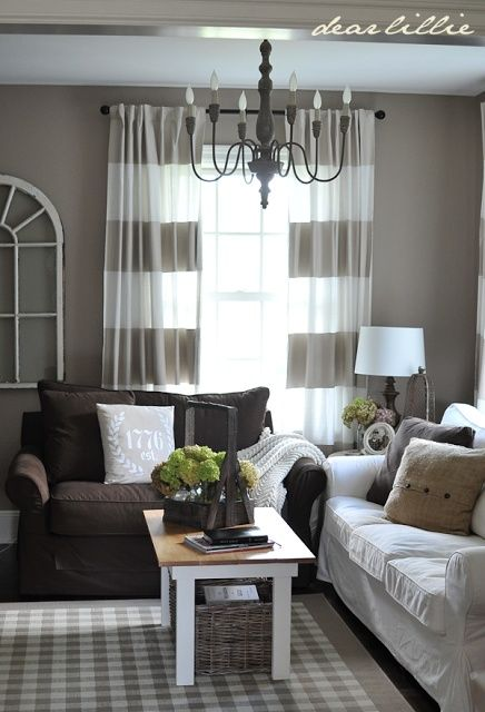 Perfect Grayish Walls And Cute Curtains To Go With My Chocolate Brown Couch.  Wall Color   Cotswald AF 150 By BM, Curtains   Stripes Painted Onto White  ...
