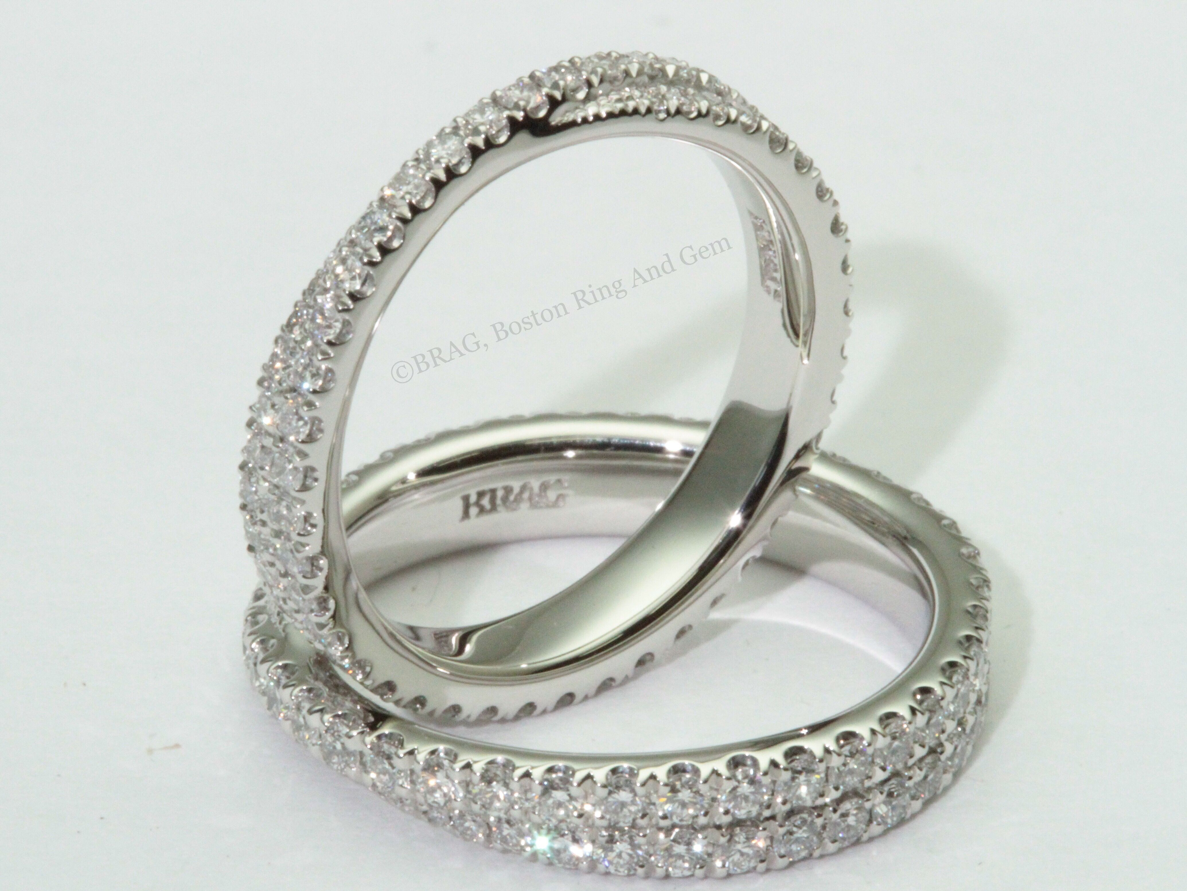 Two Rings In One Overlap Twist For One Look Then Spin It Around For A Double Stacked Eternity Diam Wedding Rings Wedding Rings For Women Eternity Band Diamond