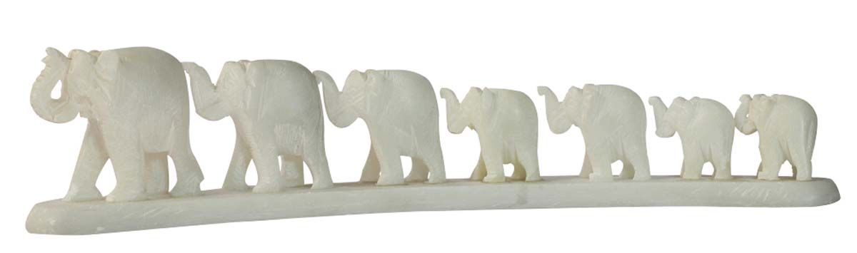 Bulk Wholesale 'Elephant Parade' Showpiece in White Stone