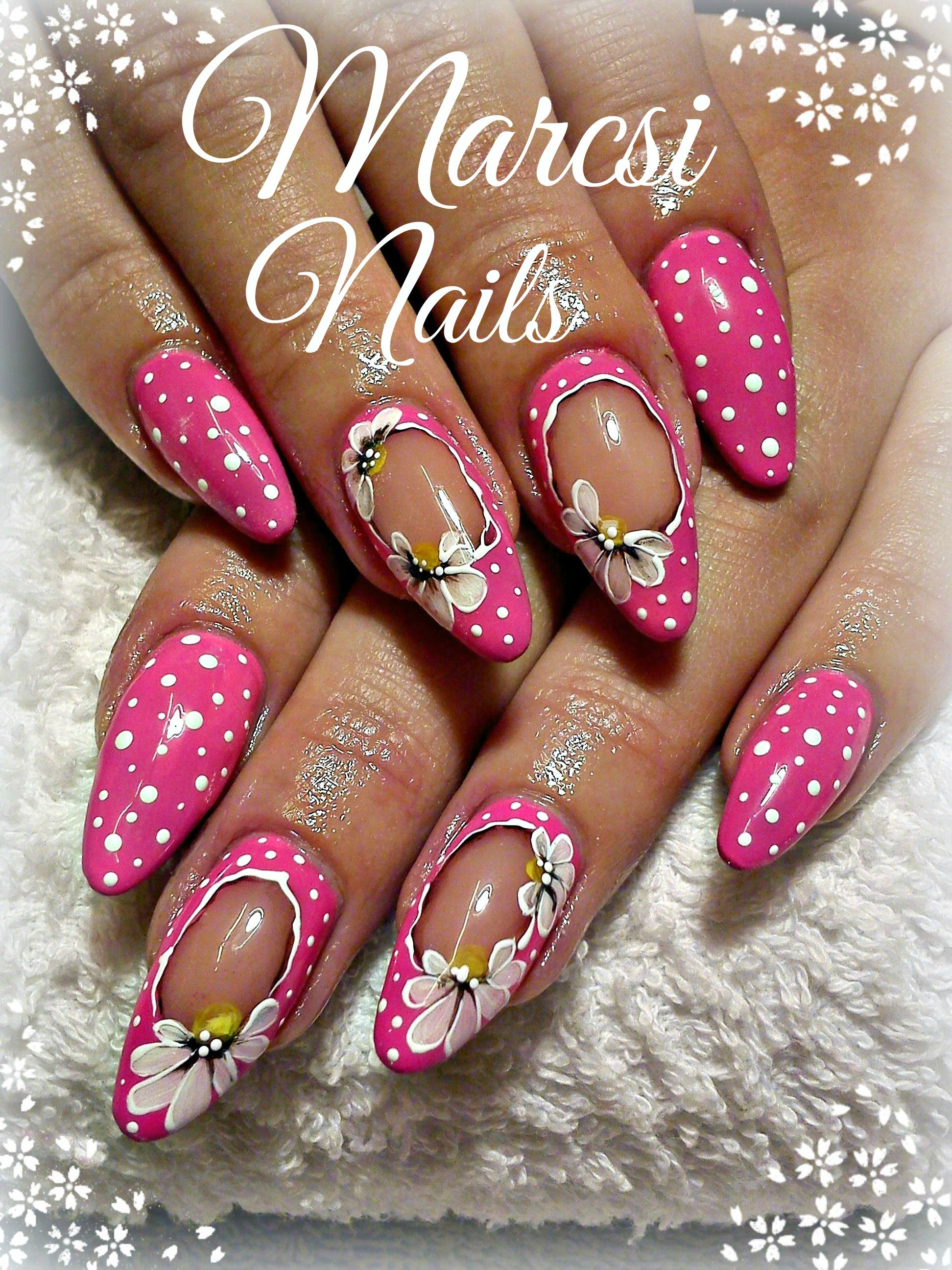 Pink nail/Neon pink nail art with flower,flower hand painting nail ...