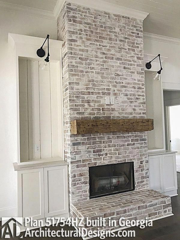 A Sunny Selection Around The Yellow Brick Fireplace Makeover Beams Living Room Rustic Remodel