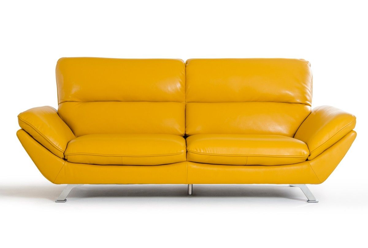 The divani casa daffodil modern yellow italian leather sofa set features a snappy style with wide seats and slanted armrests upholstered in yellow full