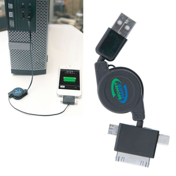 Stylish 3 in 1 Retractable USB Charger