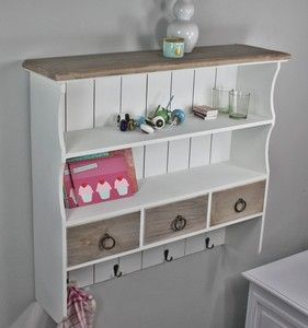 wandregal wandablage garderobe braun wei landhaus antik gew rzregal holz living home. Black Bedroom Furniture Sets. Home Design Ideas