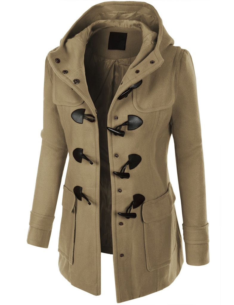 LE3NO Womens Classic Fully Lined Toggle Duffle Pea Coat with ...