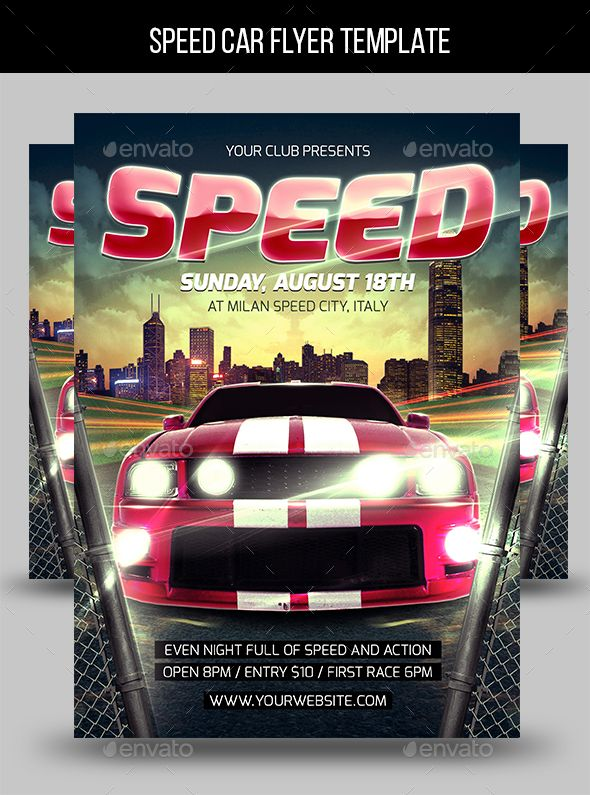 Speed Car Flyer Template  Flyer Template Template And Event Flyers