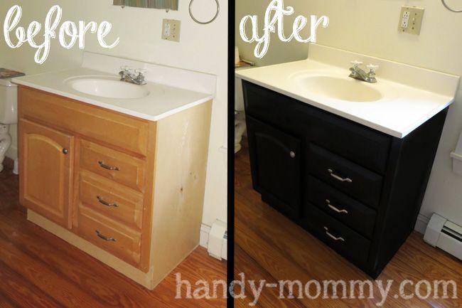 Handy Mommy Refinishing a Bathroom Vanity Bathroom