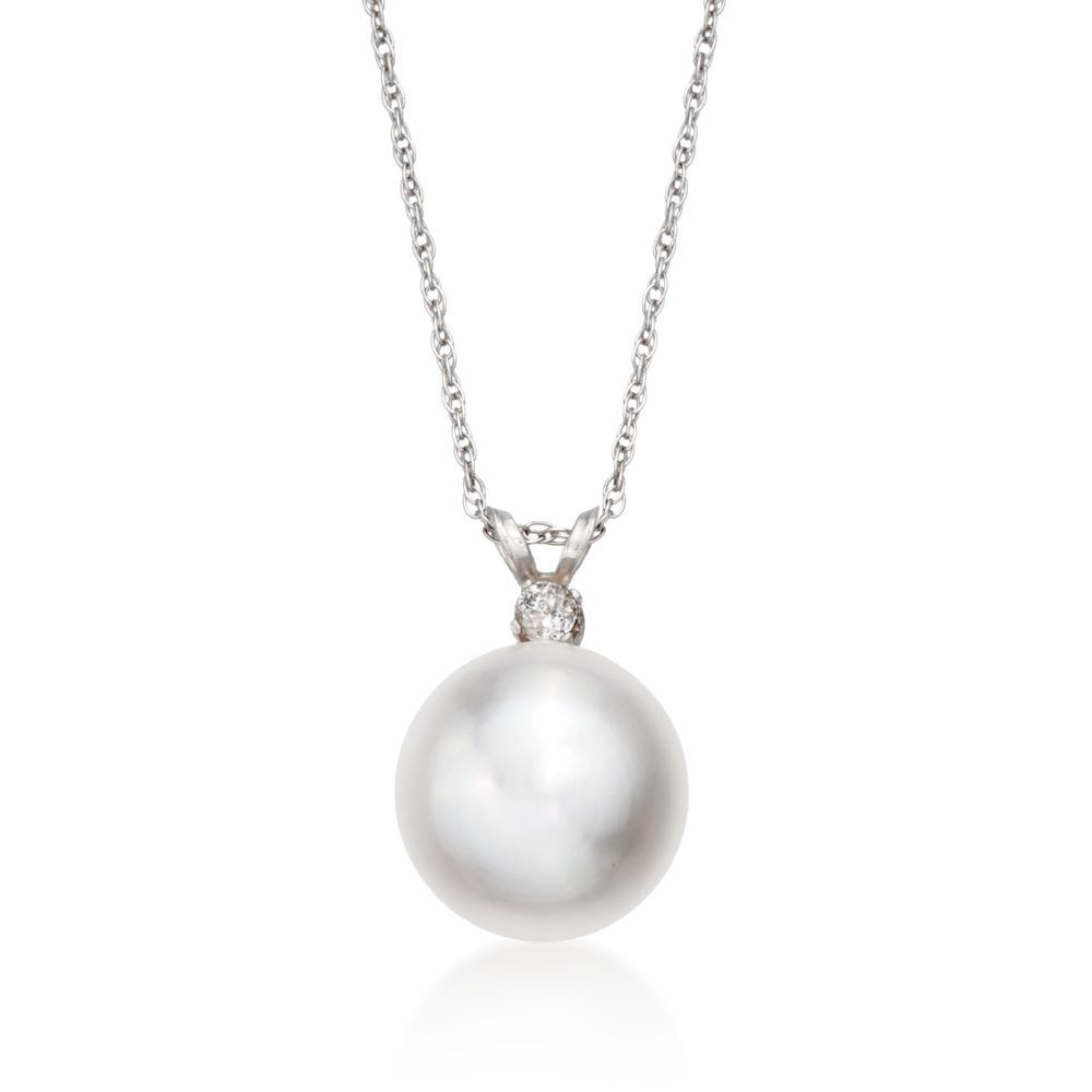 Mm cultured pearl pendant necklace with diamond in kt white gold