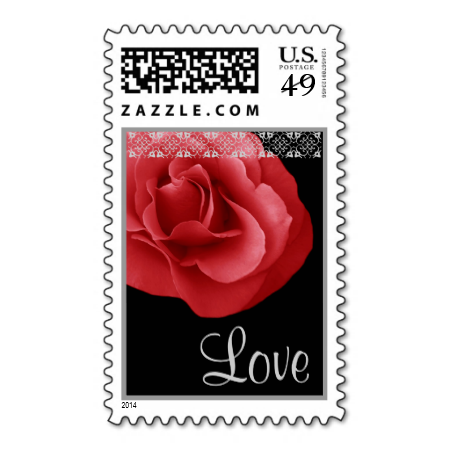 Red Wedding Rose Love Lace Stamp Stamps Marriage Romance