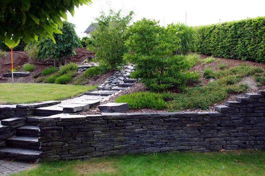 Garten - Trockenmauer - Schiefer Naturstein - rock wall - gartenideen mit naturstein