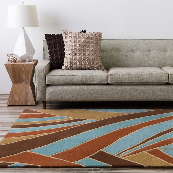 Hand-tufted Contemporary Grey/Yellow Striped Mayflower Wool Rug (6' x 9')