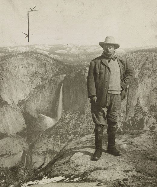 One of Roosevelt's greatest contributions was in the area of conservation. While president, he doubled the number of national parks and created the first 50 national wildlife refuges. Here he is at Yosemite National Park. | The President | Kids Discover