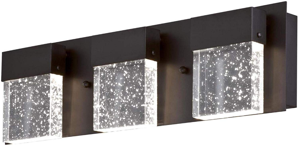 Westinghouse Lighting 6372600 Cava Ii Three Light 21 Watt Led Indoor Vanity Light Wall Fixture Matte Black Finish Wall Fixtures Bubble Glass Vanity Lighting
