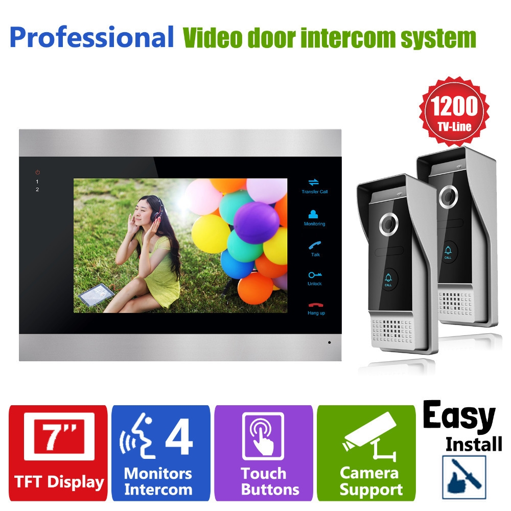 186.42$  Buy now - http://ali8s6.worldwells.pw/go.php?t=32409577537 - Homefong Video Door Intercom Doorbell System 7 inch  1 Door Monitor and 2 HD 1200TVL Camera  Home House Security 186.42$