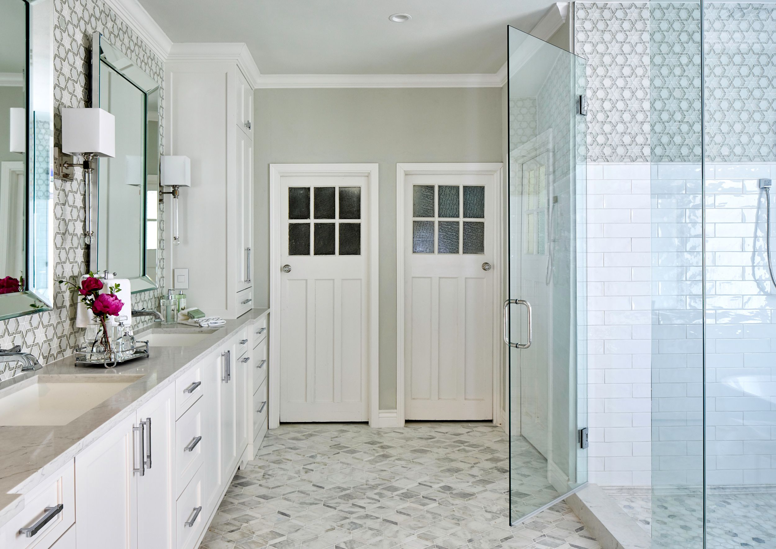 Spa Bathroom With White Cabinets Mosaic Wall Tile Regina Andrews