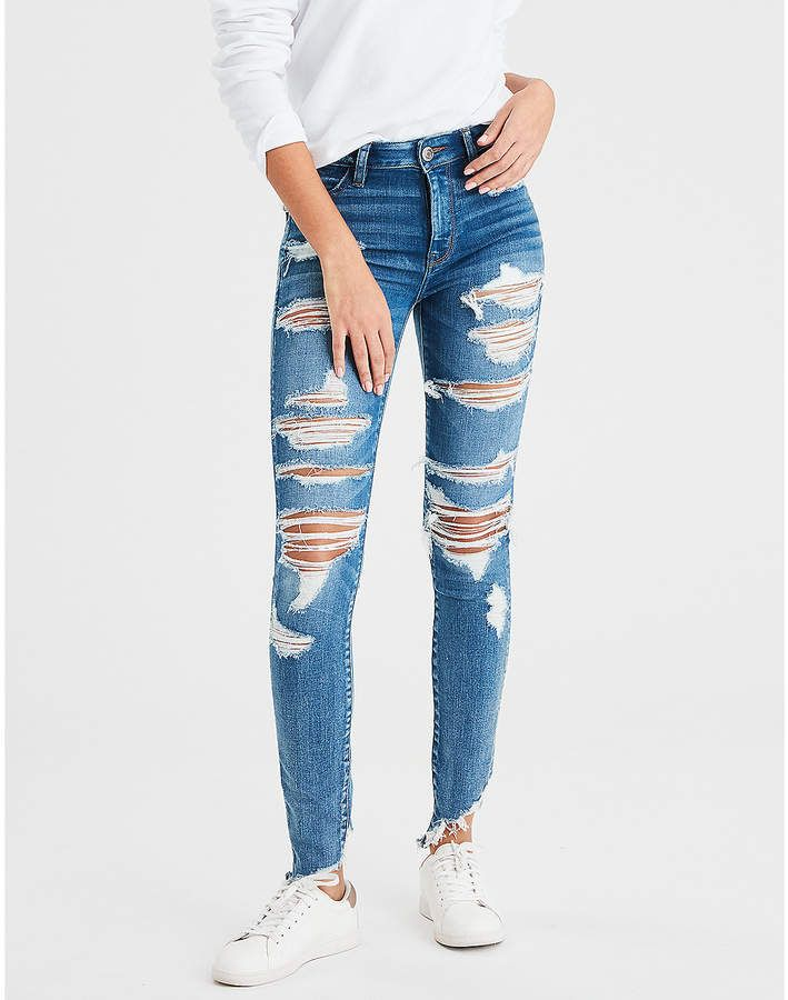 American Eagle Ae Ne X T Level High Waisted Jegging Ripped Jeggings American Eagle Ripped Jeans Women Jeans