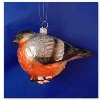 Bullfinch Bird Blown Glass Christmas Ornament