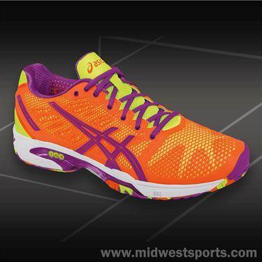 Asics Gel Solution Speed 2 Womens Tennis Shoe-Bright Orange/Lavender/Bright  Yellow