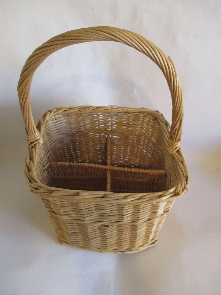 Vtg Wicker Wine Bottle Caddy Basket 4 Compartment Picnic Travel ...