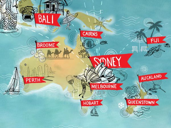 A close up of a global map for qantas promoting flight destinations a close up of a global map for qantas promoting flight destinations around the world gumiabroncs Image collections