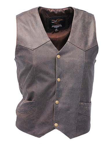 Premium Rich Brown Leather Plain Men's Vest