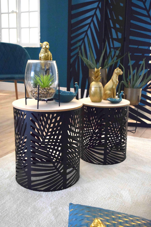 Lot De 2 Tables En Fer Noires Ajourees Tropical Kalico Mobilier De Salon Contemporain Mobilier De Salon Scandinave Styles De Decoration Interieure