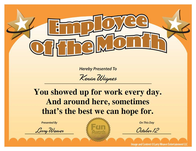 Employee of the month award from 101 funny employee awards by employee of the month award from 101 funny employee awards by comedian larry weaver yadclub Choice Image