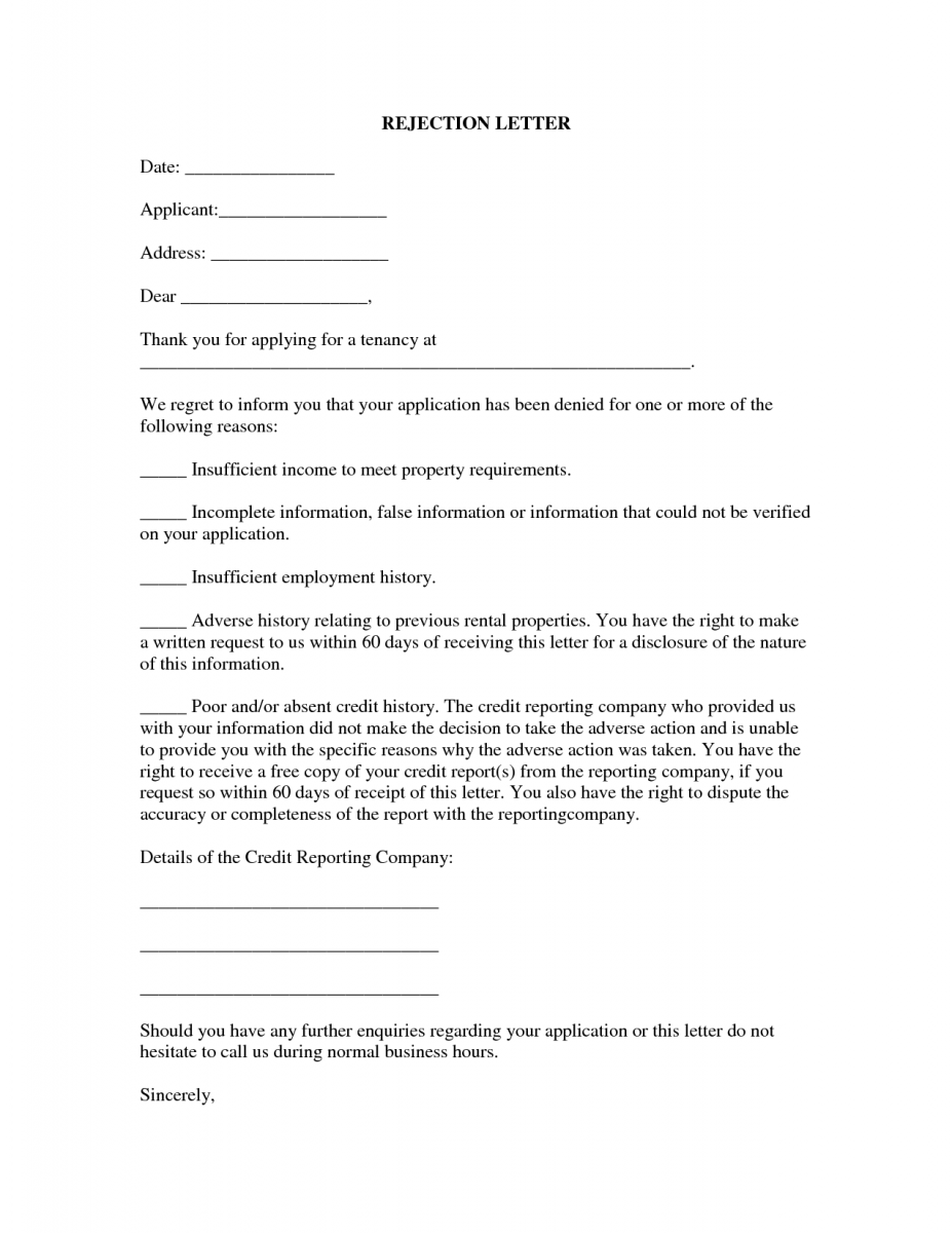 13 best rental application rejection letter 5
