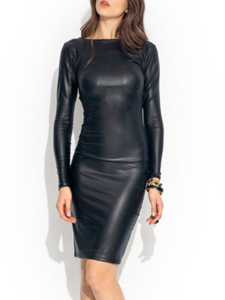 Prechic Mommy Baby Chic Dress Matching Fashion Shop Round Neck Plain Faux Leather Bodycon Dr Leather Bodycon Dress Womens Sheath Dress Women Bodycon Dress [ 1200 x 900 Pixel ]