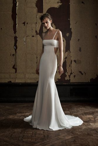 A sultry, graceful dress with cutouts from Vera Wang's spring 2016 bridal collection.