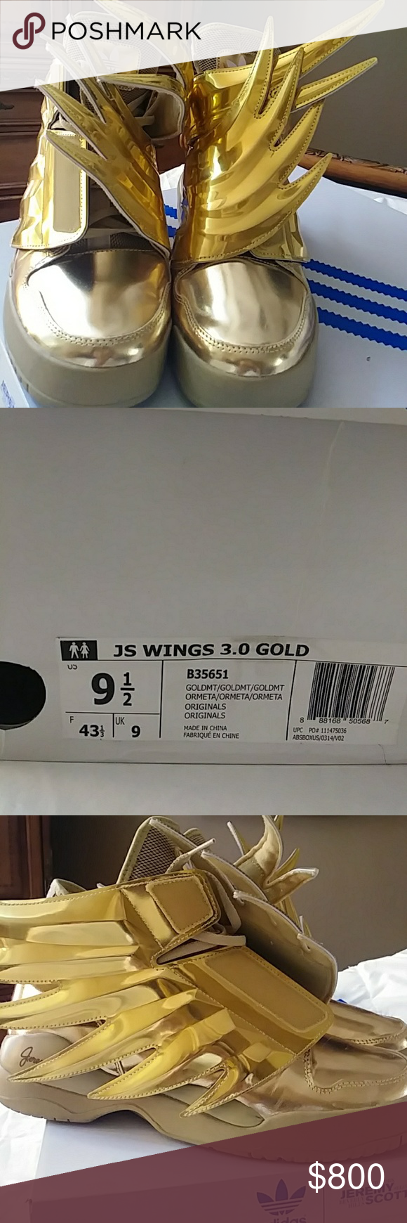 Jeremy Scott Wings 3 0 Gold Rare Limited Used In Excellent Condition Ships With Original Box Adidas Shoes Sneakers Adidas Wedding Sneaker Things To Sell