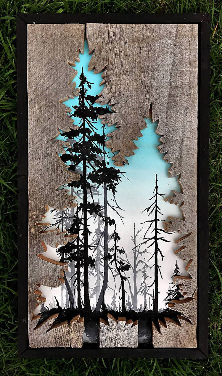 Wood wall art made of old barnwood and natural steel