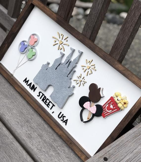 A walk down Mainstreet USA. DisneyWorld, Magic Kingdom, Mainstreet Sign custom. Disney sign, Cinderella Castle, Mickey Balloons, Minnie ears