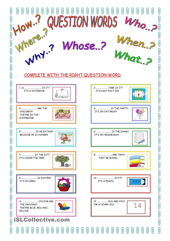 Worksheets Wh Words : Free esl question words worksheets kindergarten wh word