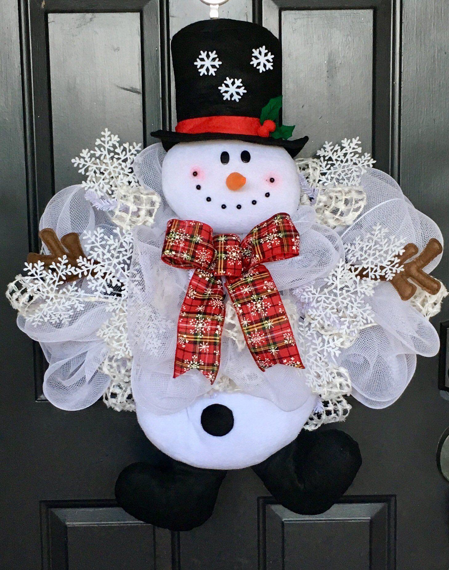 Bestseller Snowman Wreath Winter Wreath Christmas Wreath Christmas Wreaths Diy Christmas Wreaths Snowman Wreath