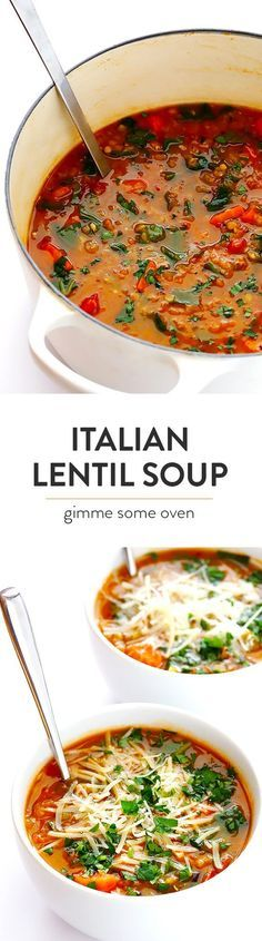 Italian Lentil Soup -- this delicious soup is easy to make, and so comforting! It's naturally vegetarian (or vegan), but feel free to add in Italian sausage if you'd like extra protein. | http://gimmesomeoven.com