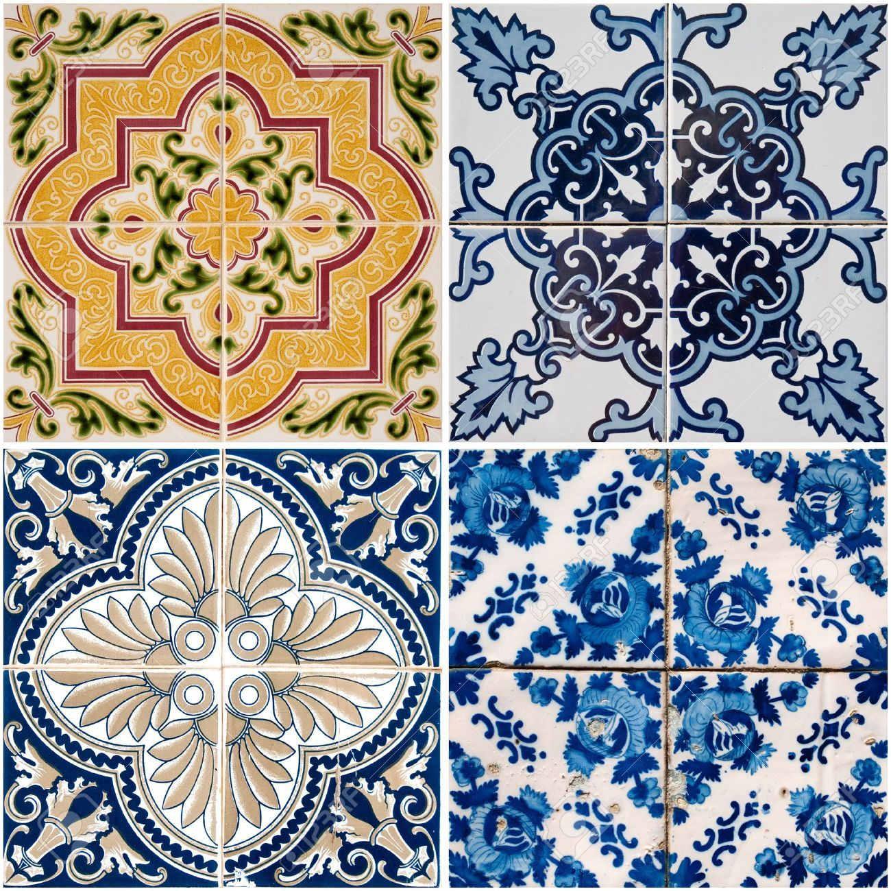 9901536-Colorful-vintage-ceramic-tiles-wall-decoration--Stock ...