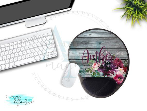 Mouse Pad With Gel Wrist Rest Personalized Purple Fl Monogrammed Custom Design Desk Accessory Office