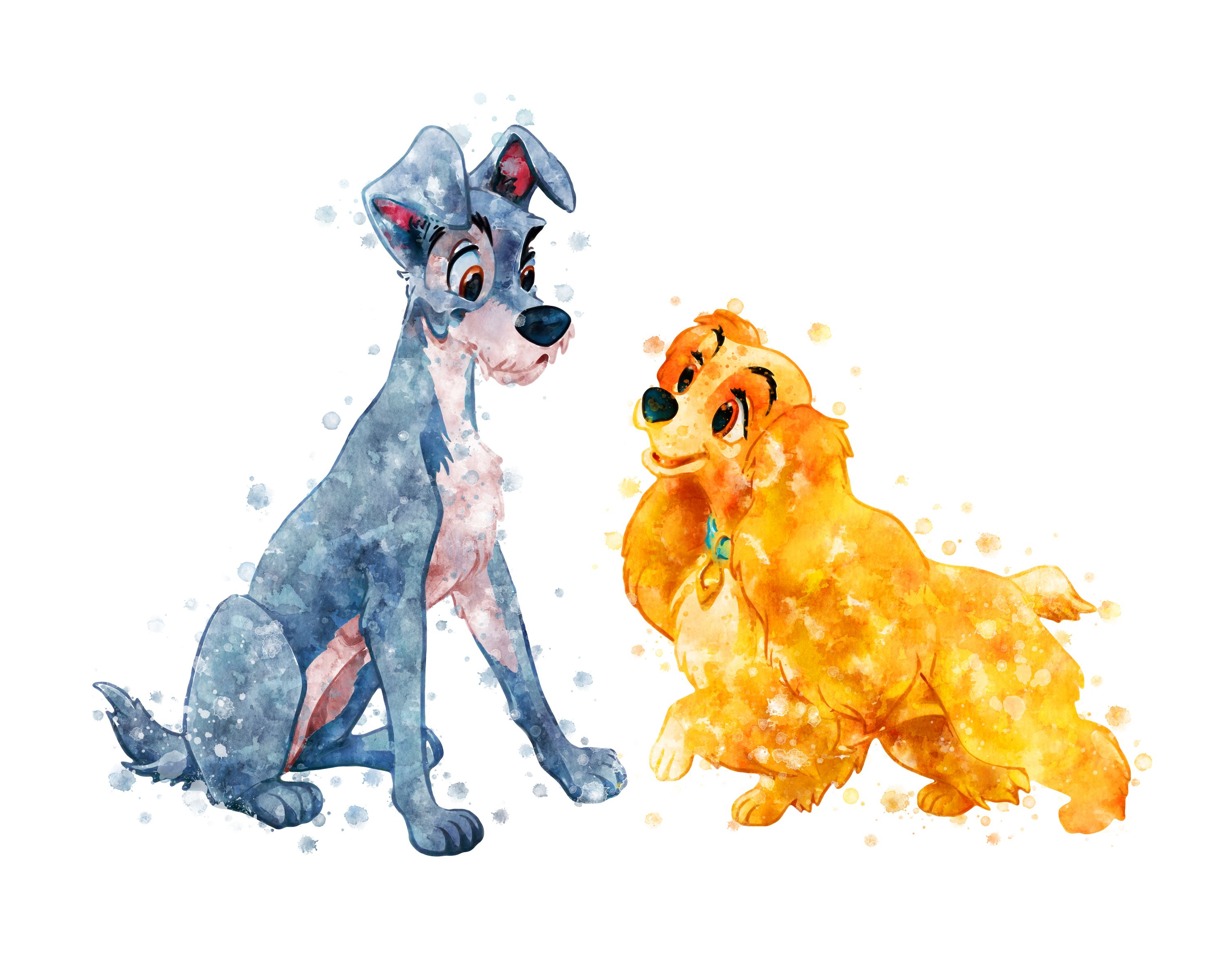Lady and the Tramp Print Disney Printable Lady and the Tramp Watercolor Lady Tramp