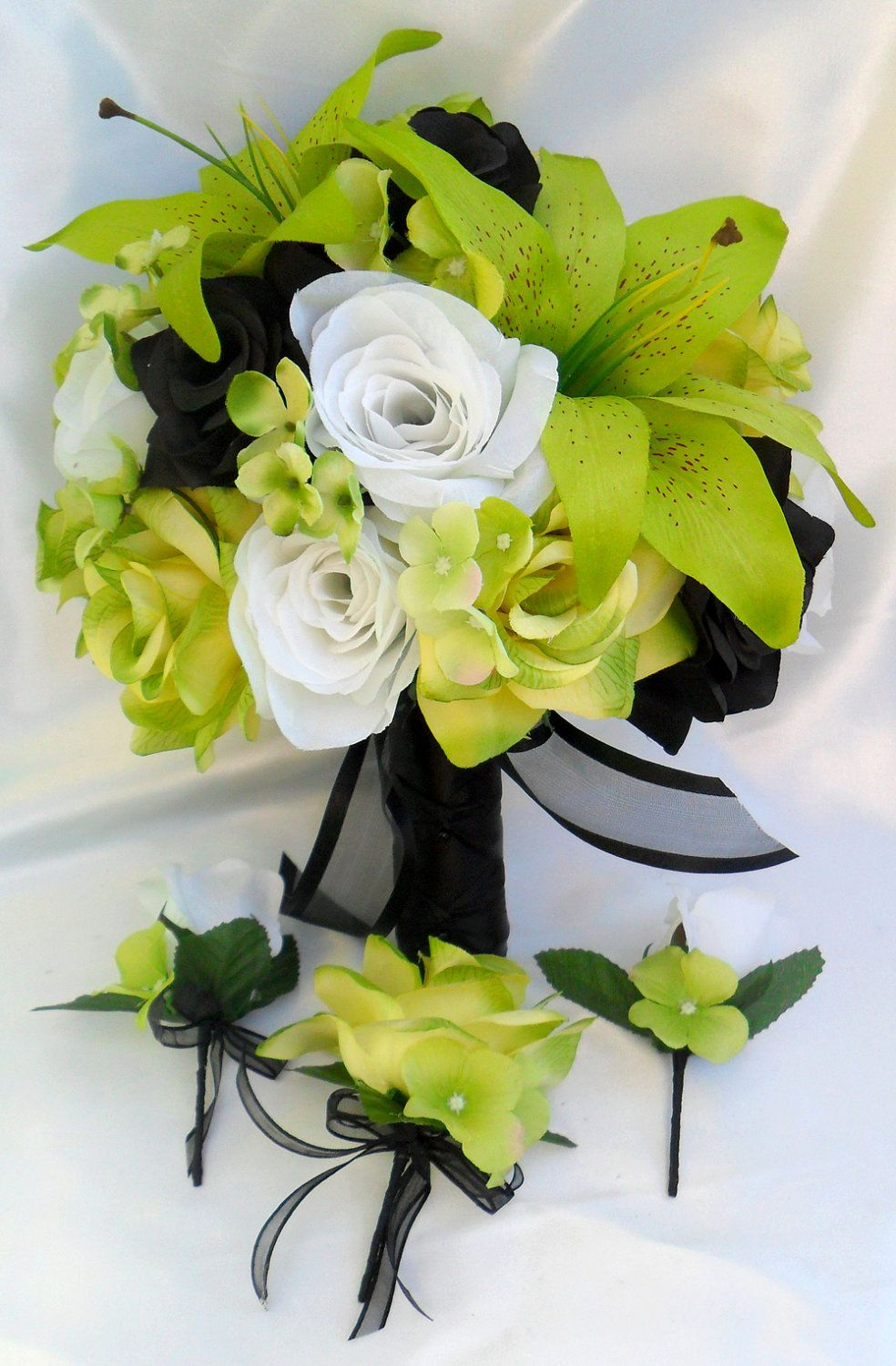 17pcs Wedding Bridal Bouquet Set Decoration Package Silk Flowers WHITE BLACK GREEN Lily Of Angeles