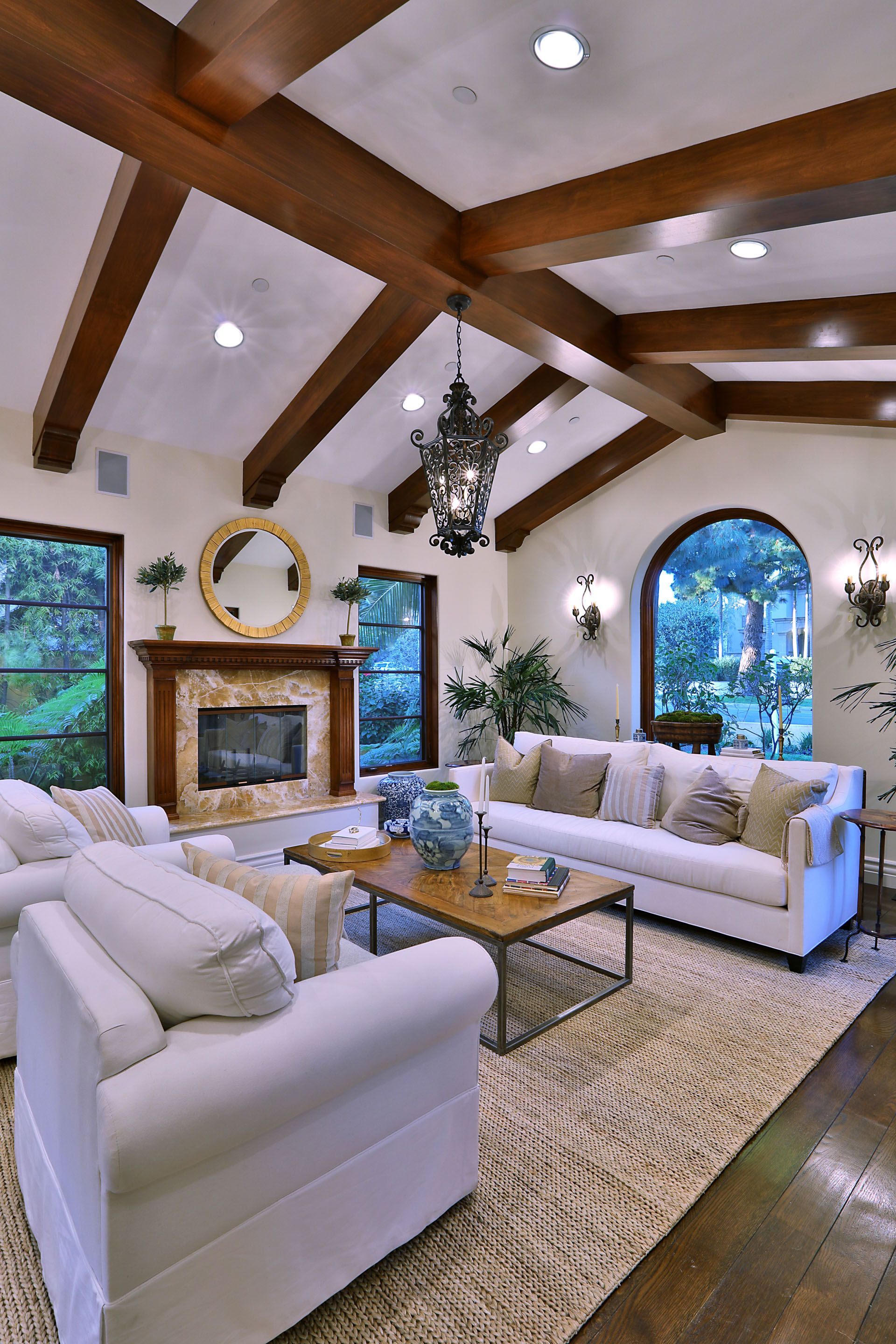 modern luxury living room with wood beam ceiling (with