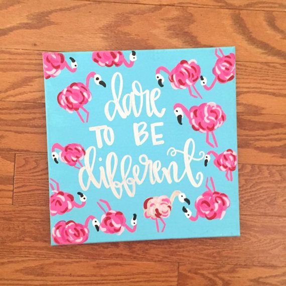Flamingo Sign Quote - Flamingo Art - Dare to Be Different - Lilly ...