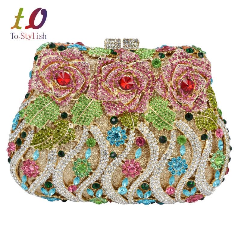 Femmes Fleur embrayages Soirée Sacs À Main Mariage Clutch Purse Prom Party Bags