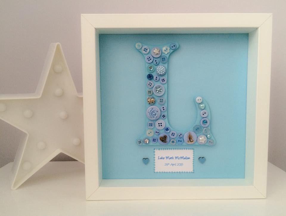 button birth datenew baby letter frame 25cm x 25cm