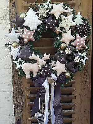Photo of Fir wreath Door wreath Christmas winter Elk star Tilda fabric decoration X-Mas 40cm