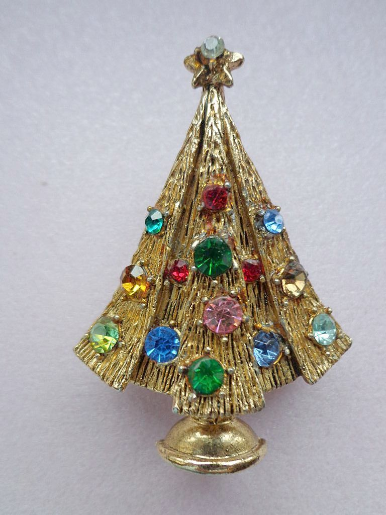 Vintage Hollycraft Christmas Tree Pin Broches 541f792a087